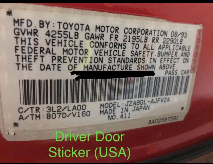 Driver Door Sticker (USA) example